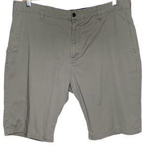 Mens Gray Green Volcom Flat Front Shorts Size 38